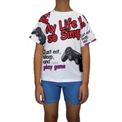 My Life Is Simple Kids  Short Sleeve Swimwear