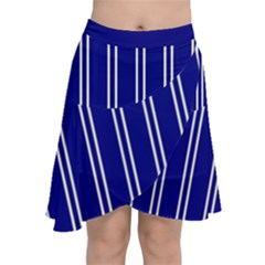 Nice Stripes In Blue Chiffon Wrap Front Skirt by TimelessFashion