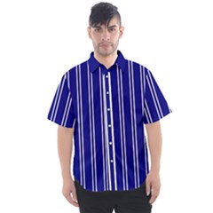 Nice Stripes In Blue Men s Short Sleeve Shirt by TimelessFashion