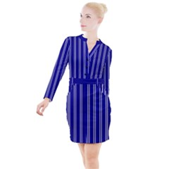 Nice Stripes In Blue Button Long Sleeve Dress by TimelessFashion