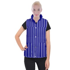 Nice Stripes In Blue Women s Button Up Vest by TimelessFashion