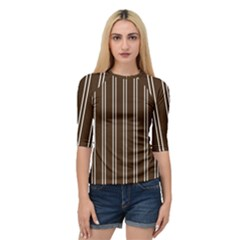 Nice Stripes In Brown Quarter Sleeve Raglan Tee
