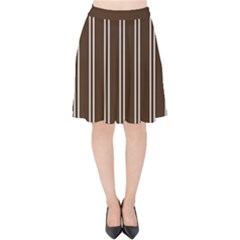 Nice Stripes In Brown Velvet High Waist Skirt by TimelessFashion
