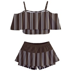 Nice Stripes In Brown Kids  Off Shoulder Skirt Bikini by TimelessFashion