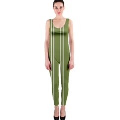 Nice Stripes In Olive Green One Piece Catsuit