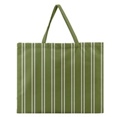 Nice Stripes In Olive Green Zipper Large Tote Bag by TimelessFashion