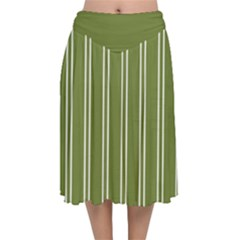 Nice Stripes In Olive Green Velvet Flared Midi Skirt by TimelessFashion