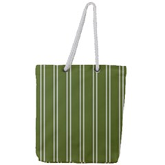 Nice Stripes In Olive Green Full Print Rope Handle Tote (large)