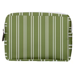 Nice Stripes In Olive Green Make Up Pouch (medium)