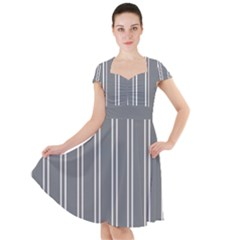 Nice Stripes In Steel Grey Cap Sleeve Midi Dress