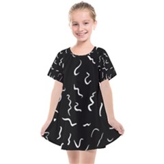 Scribbles Lines Drawing Picture Kids  Smock Dress by Pakrebo
