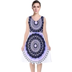Design Circular Pattern Mandala V Neck Midi Sleeveless Dress