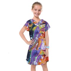 Abstract Modern Detail Color Kids  Drop Waist Dress