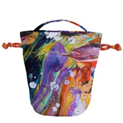 Abstract Modern Detail Color Drawstring Bucket Bag
