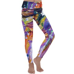 Abstract Modern Detail Color Kids  Lightweight Velour Classic Yoga Leggings