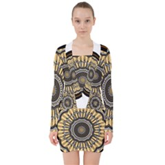 Mandala Pattern Round Ethnic V Neck Bodycon Long Sleeve Dress