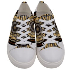 Mandala Pattern Round Ethnic Women s Low Top Canvas Sneakers