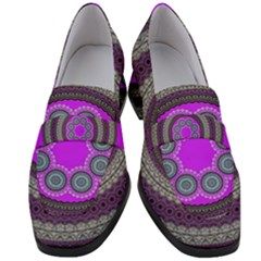 Round Pattern Ethnic Design Women s Chunky Heel Loafers