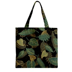 Autumn Fallen Leaves Dried Leaves Zipper Grocery Tote Bag