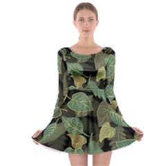 Autumn Fallen Leaves Dried Leaves Long Sleeve Skater Dress by Pakrebo
