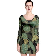 Autumn Fallen Leaves Dried Leaves Long Sleeve Velvet Bodycon Dress