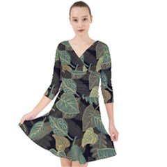 Autumn Fallen Leaves Dried Leaves Quarter Sleeve Front Wrap Dress