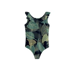 Autumn Fallen Leaves Dried Leaves Kids  Frill Swimsuit