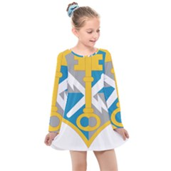 U S  Army Intelligence And Security Command Shoulder Sleeve Insignia Kids  Long Sleeve Dress by abbeyz71
