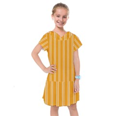 Nice Stripes In Honey Orange  Kids  Drop Waist Dress