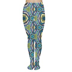 Blue And Lime Green Geometric Kaleidoscope Pattern Tights by bykenique