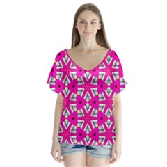 Karnival V-neck Flutter Sleeve Top by bykenique