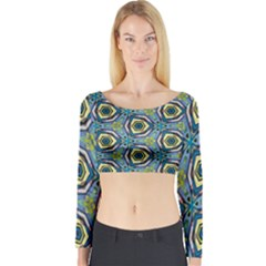 Quirky Kaleidoscope Long Sleeve Crop Top by bykenique