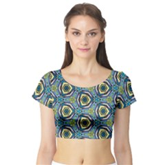 Quirky Kaleidoscope Short Sleeve Crop Top by bykenique