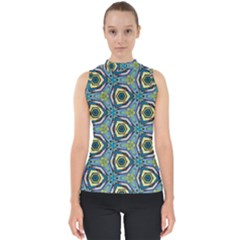 Quirky Kaleidoscope Mock Neck Shell Top by bykenique