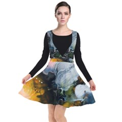 Art Abstract Painting Plunge Pinafore Dress by Pakrebo