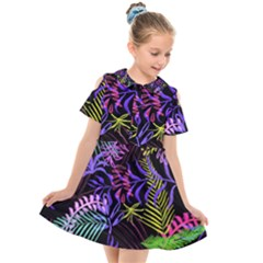 Leaves Nature Design Plant Kids  Short Sleeve Shirt Dress