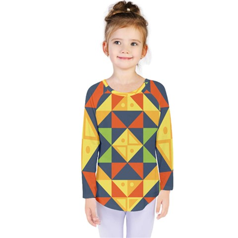 Background Geometric Color Kids  Long Sleeve Tee by Pakrebo