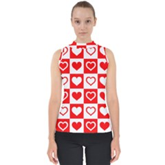 Background Card Checker Chequered Mock Neck Shell Top