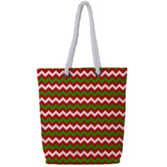 Christmas Paper Scrapbooking Pattern Full Print Rope Handle Tote (small)