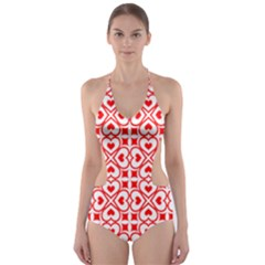 Background Card Checker Chequered Cut Out One Piece Swimsuit by Pakrebo