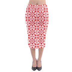 Background Card Checker Chequered Midi Pencil Skirt