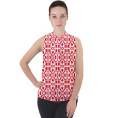 Background Card Checker Chequered Mock Neck Chiffon Sleeveless Top