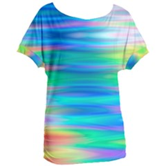 Wave Rainbow Bright Texture Women s Oversized Tee by Pakrebo