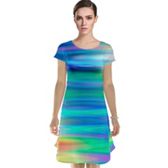 Wave Rainbow Bright Texture Cap Sleeve Nightdress