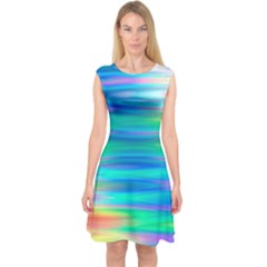 Wave Rainbow Bright Texture Capsleeve Midi Dress