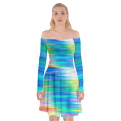 Wave Rainbow Bright Texture Off Shoulder Skater Dress