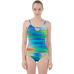 Wave Rainbow Bright Texture Cut Out Top Tankini Set