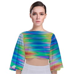 Wave Rainbow Bright Texture Tie Back Butterfly Sleeve Chiffon Top