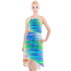 Wave Rainbow Bright Texture High-low Halter Chiffon Dress
