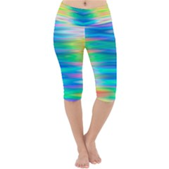 Wave Rainbow Bright Texture Lightweight Velour Cropped Yoga Leggings